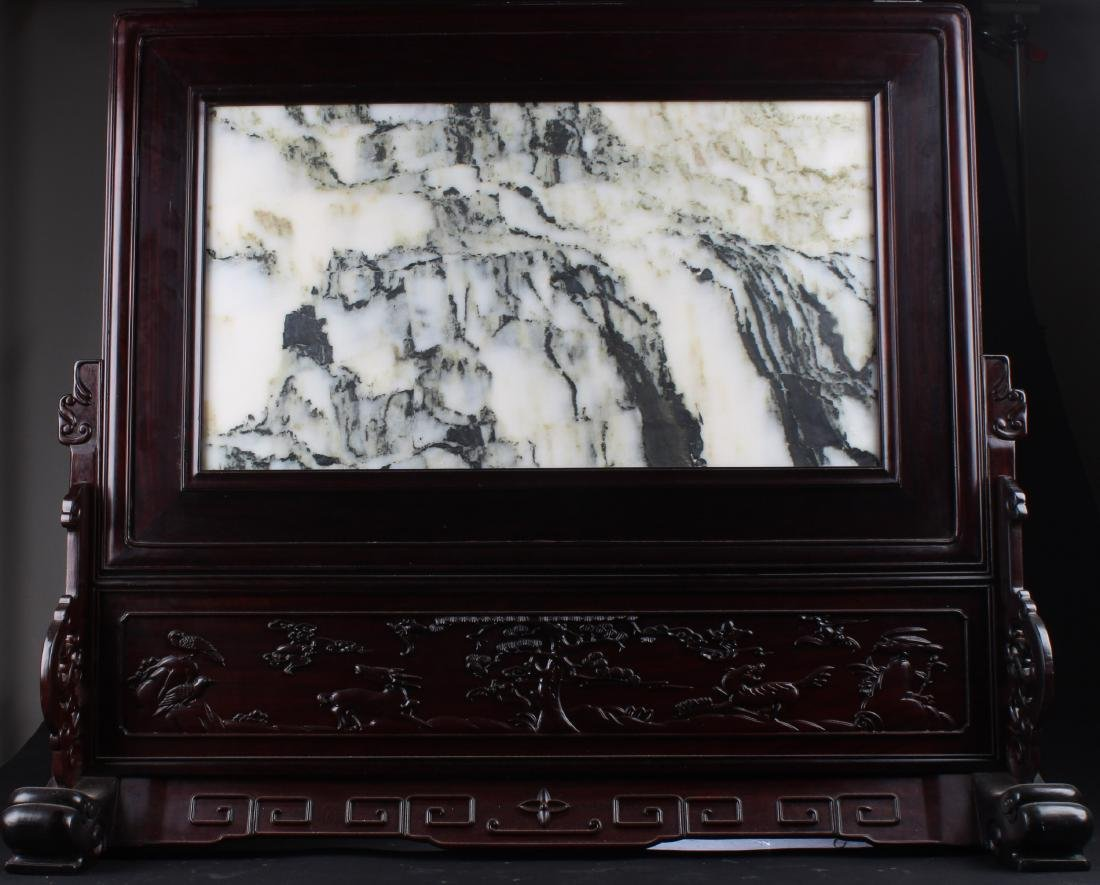 Chinese Hardwood Table Screen with Marble inlay