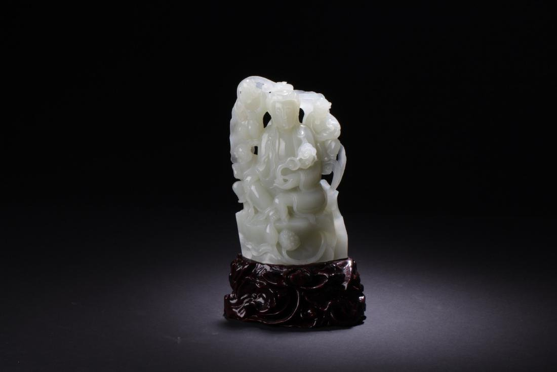 Chinese Jade Carved Guanyin Statue