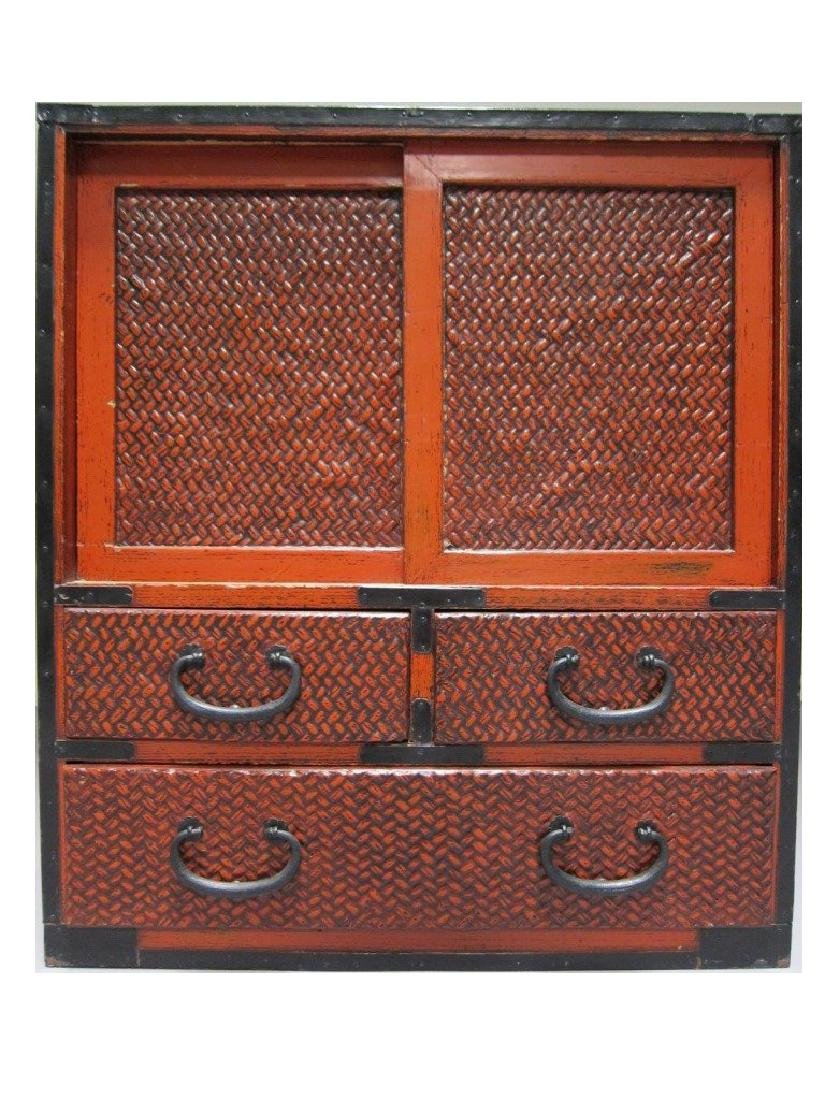 Antique Bamboo Woven End Cupboard