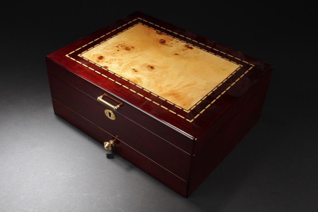 A Lacquered Wooden Jewelry Multi-Purpose Box