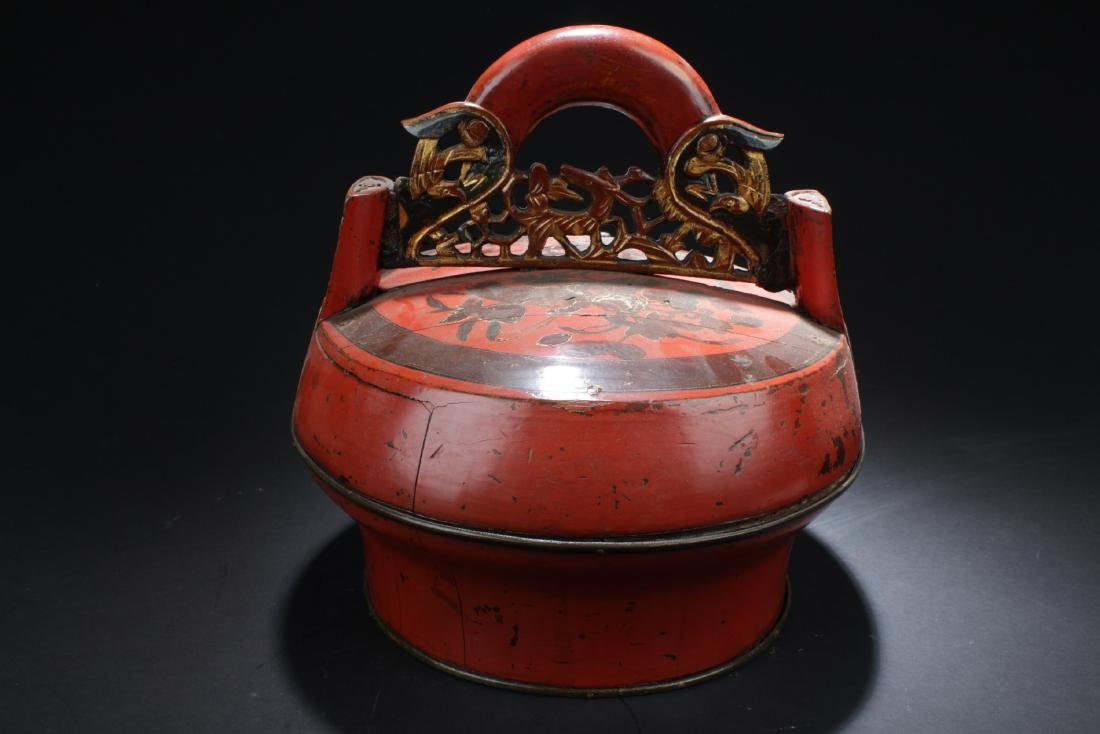 Chinese Wooden two-Tier Round Container