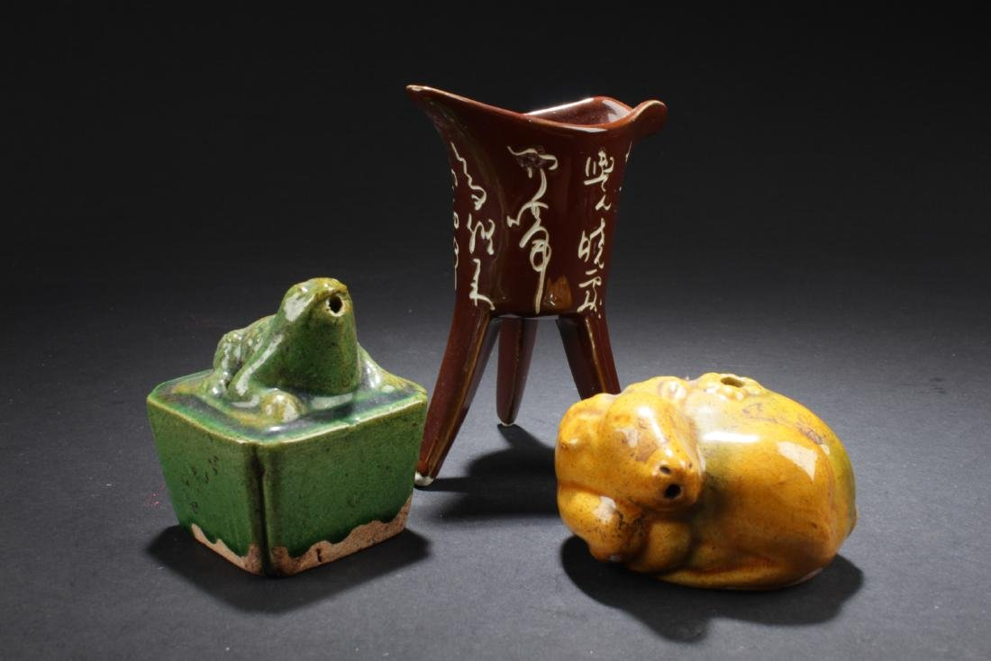 A Group of Three Porcelain Ornaments
