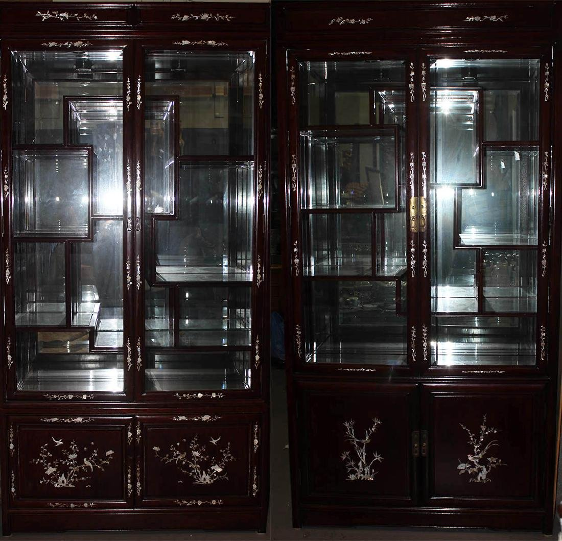 A Pair of Chinese Rosewood Display Cabinets