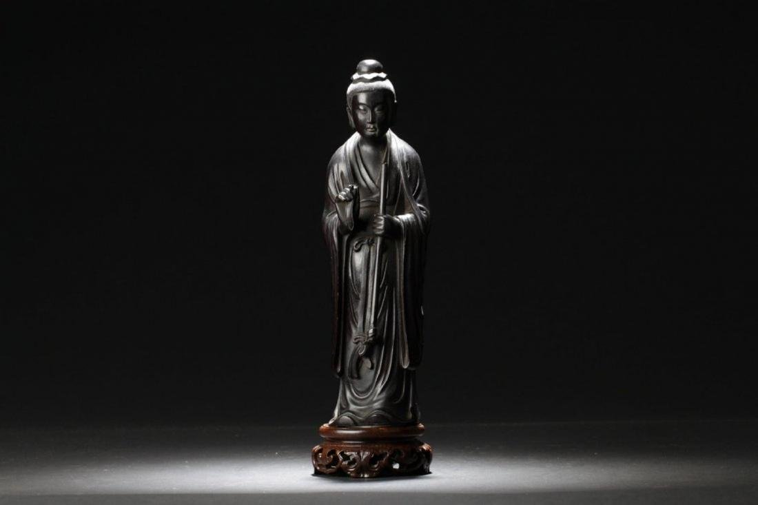A Chinese Hardwood (possibly Zitan)Carved Statue
