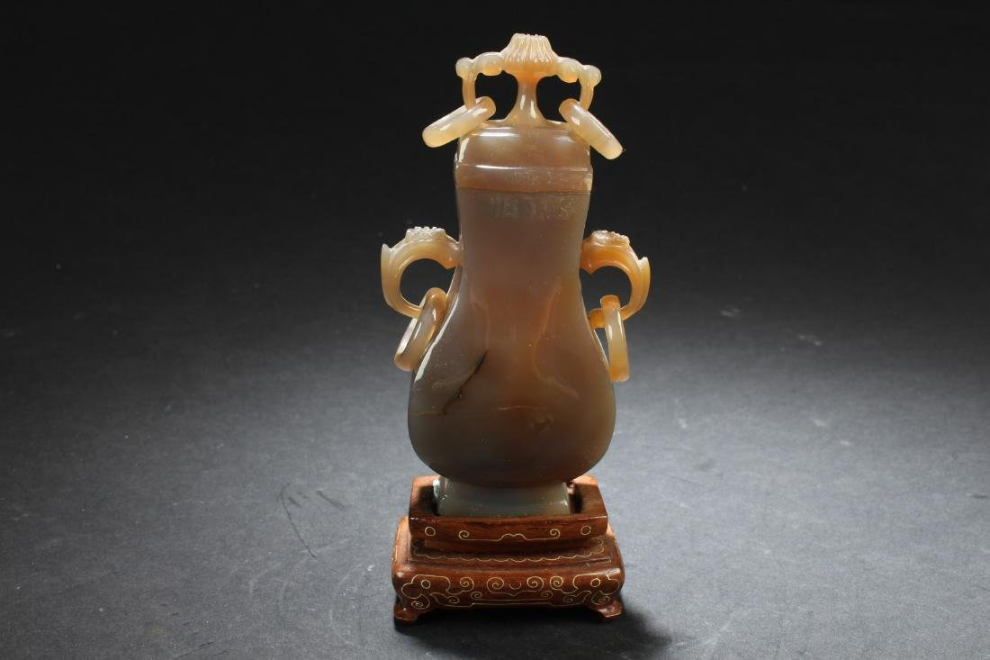 Antique Chinese Agate Vase with Wood Stand