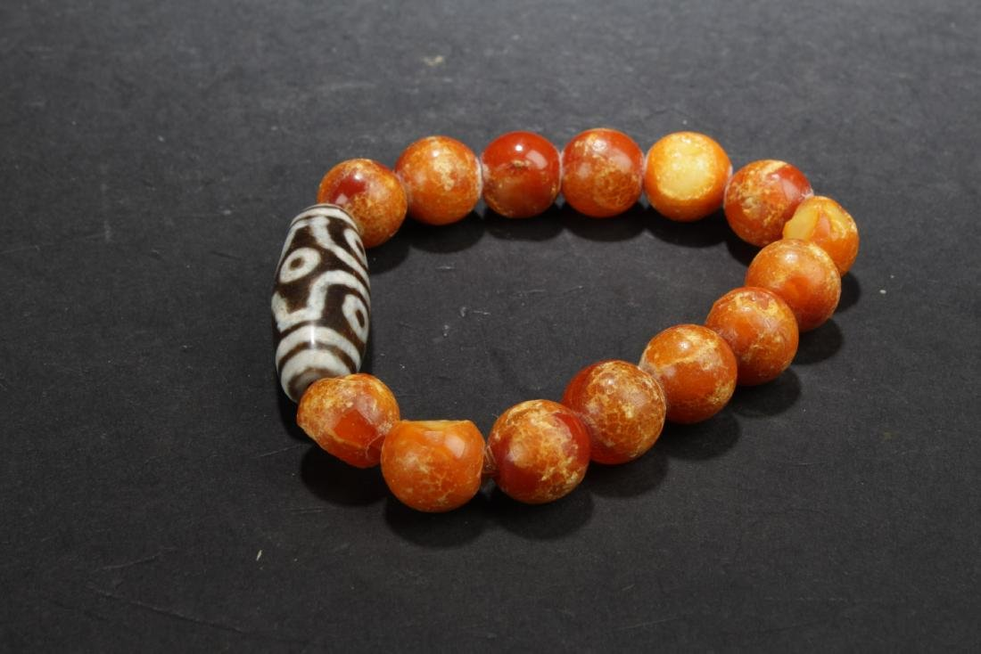 Chinese Bead Bacelet with Dzi Bead