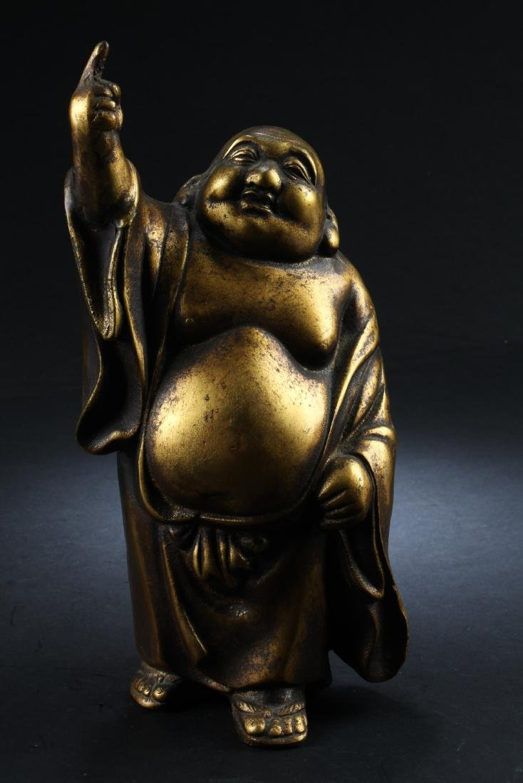 Chinese Bronze Smiling Buddha Statue