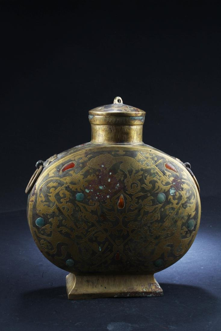 Chinese Gilt Bronze MoonFlask Container