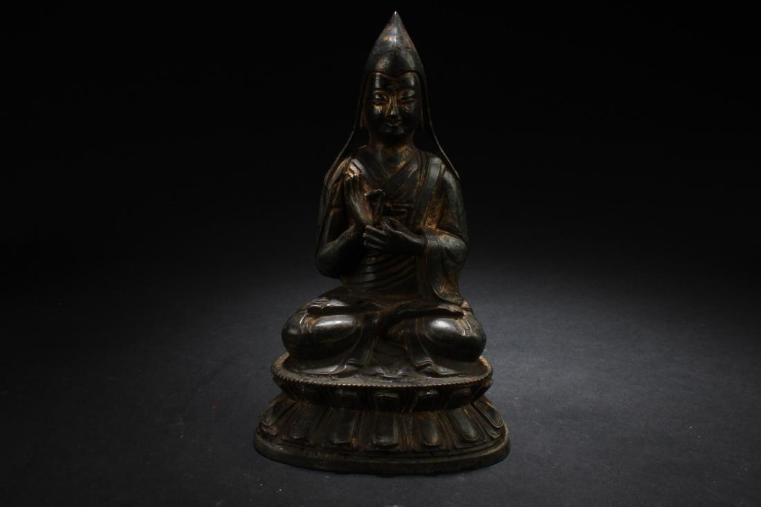 Antique Chinese Tibetan Gilt Bronze Bodhisattva Statue