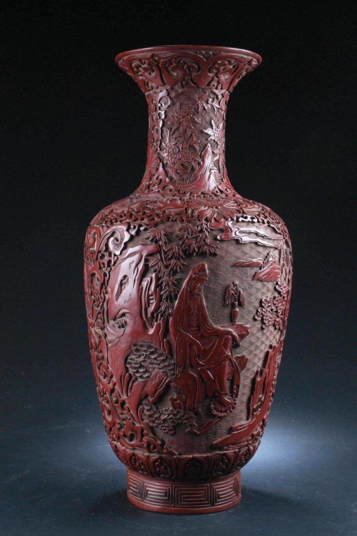 Chinese Cinnabar Lacquered Vase