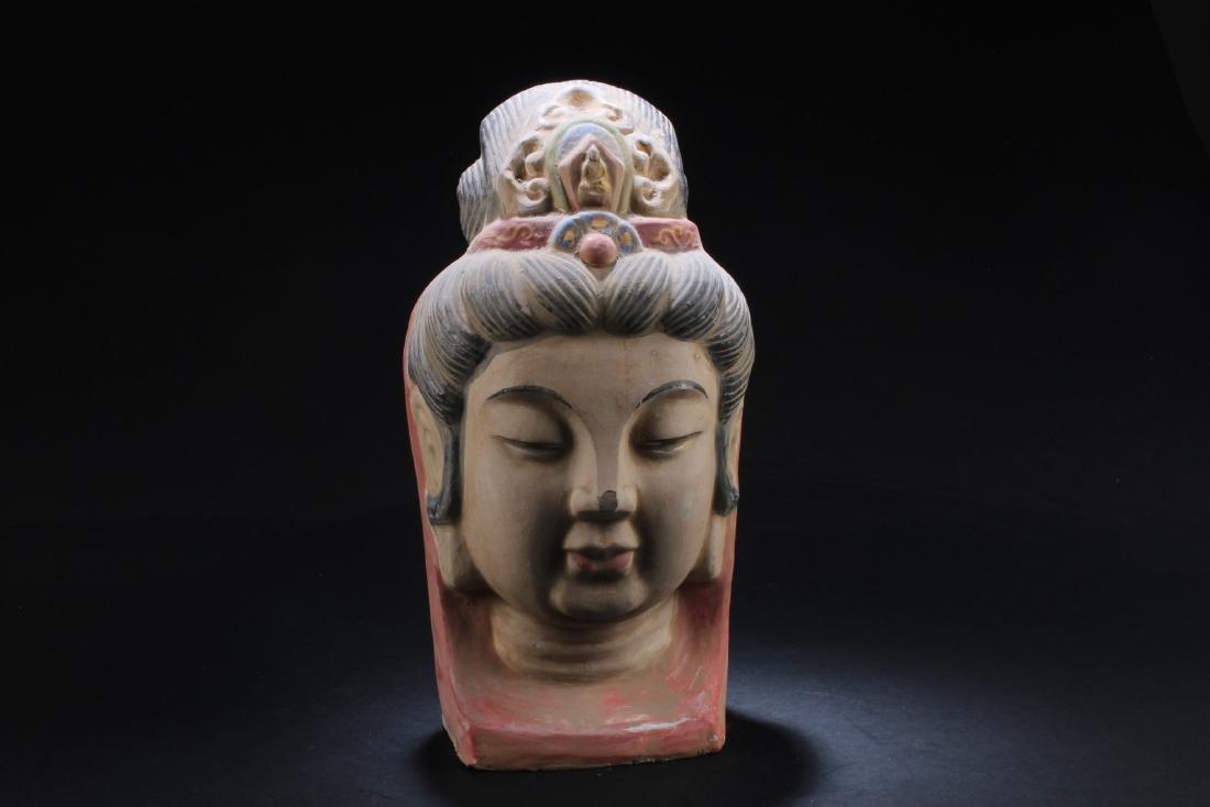 A Chinese Pottery Bodhisattva Statue Head