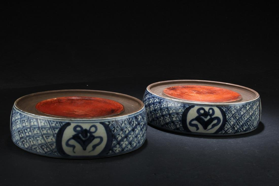 A Pair of Chinese Porcelain Ink Pad