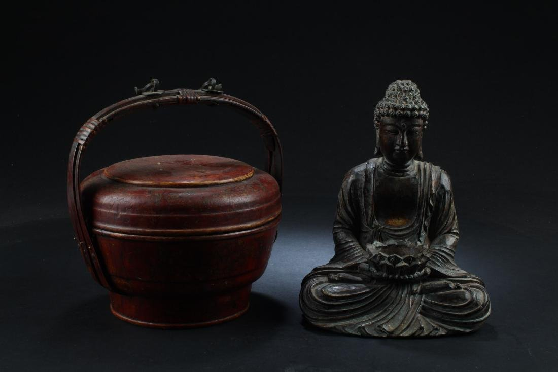 A Group of A Wooden Basket & One Buddha Statue