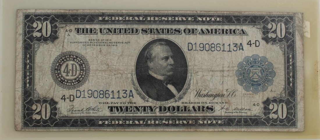 US Twenty Dollar Note, Serial #D19086113A (4-D)