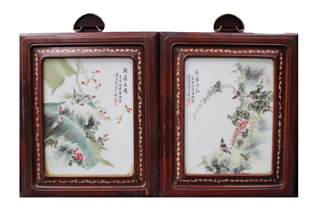 A Pair of Chinese Hardwood Framed Porcelain Paintings