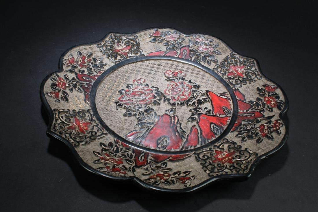 Chinese Lacquer Round Plate