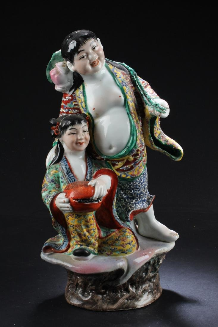 "Chinese Porcelain 'HeHe"" TwinImmortal Statue"