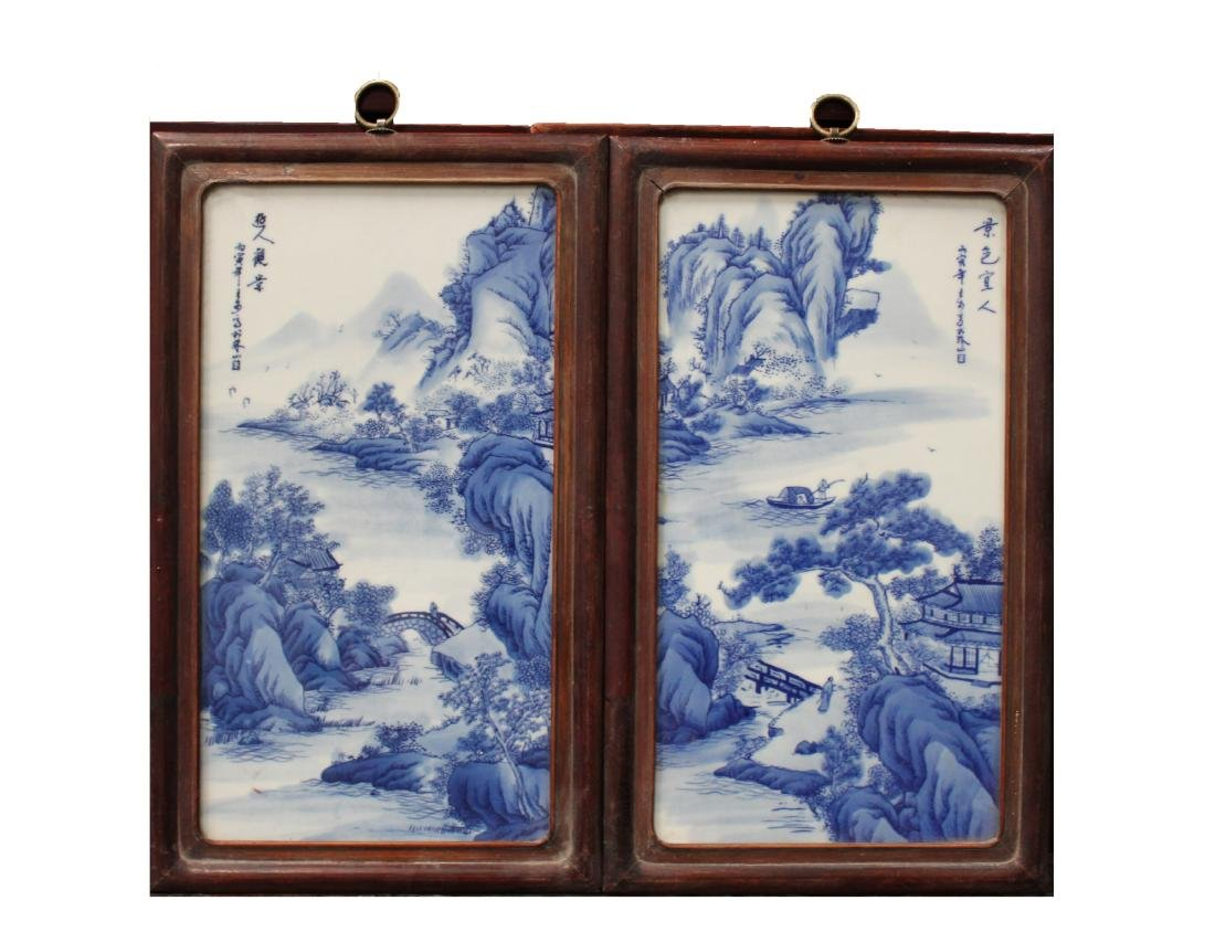 A Pair of Chinese Hardwood Blue & White Porcelain