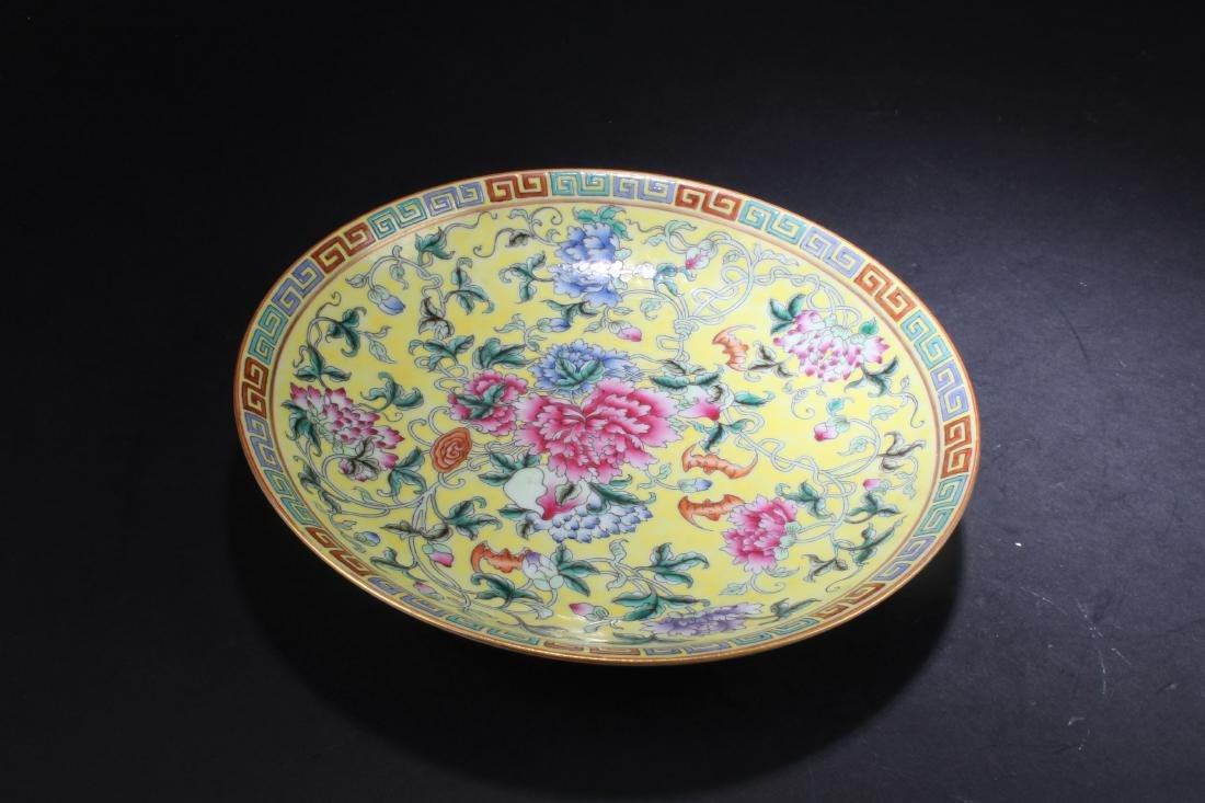 A Chinese Famille Jaune Porcelain Plate