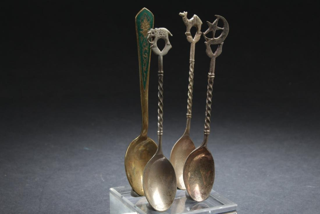 Antique collection set of four Silver and Brass Spoons