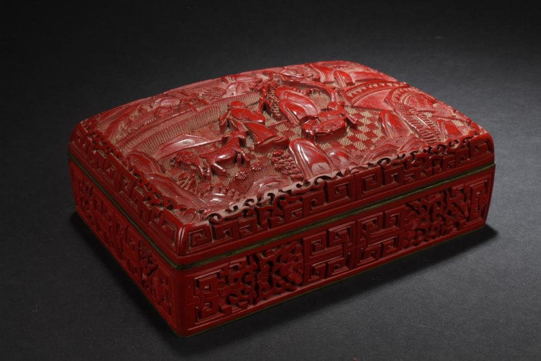 Chinese Cinnabar Lacquered Porcelain Box