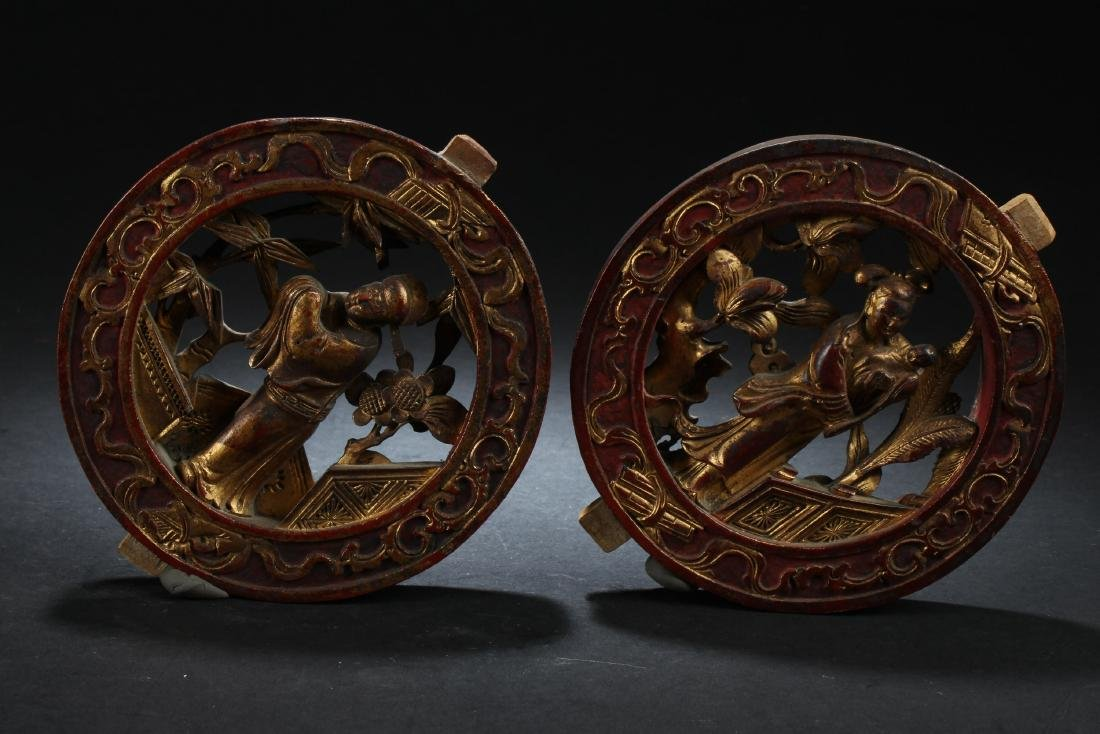 A Pair of Chinese Wood Carved Ornament