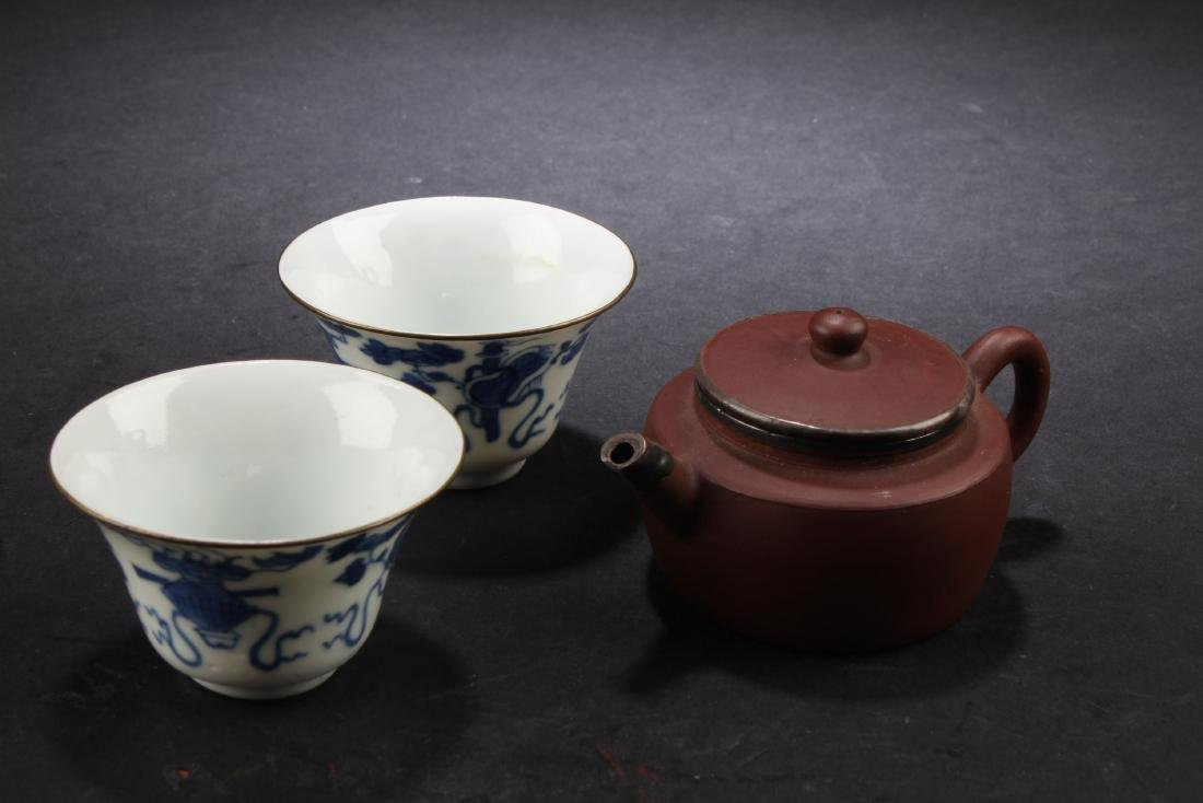Chinese Yixing Tea Pot with two porcelain cups