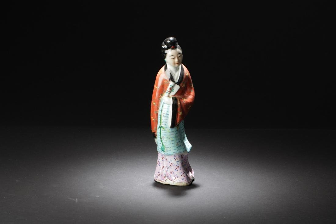 Chinese Famille Rose Porcelain Maiden Statue