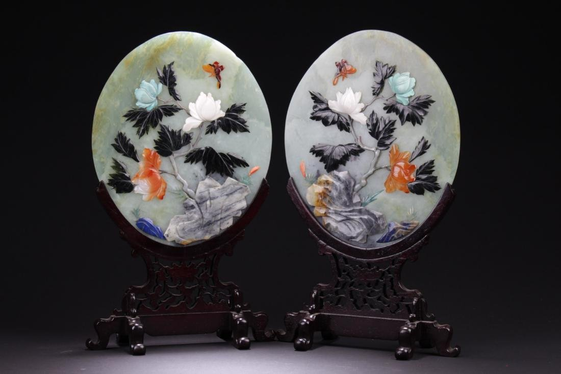 A Pair of Chinese Oval Shaped Jade Table Screen