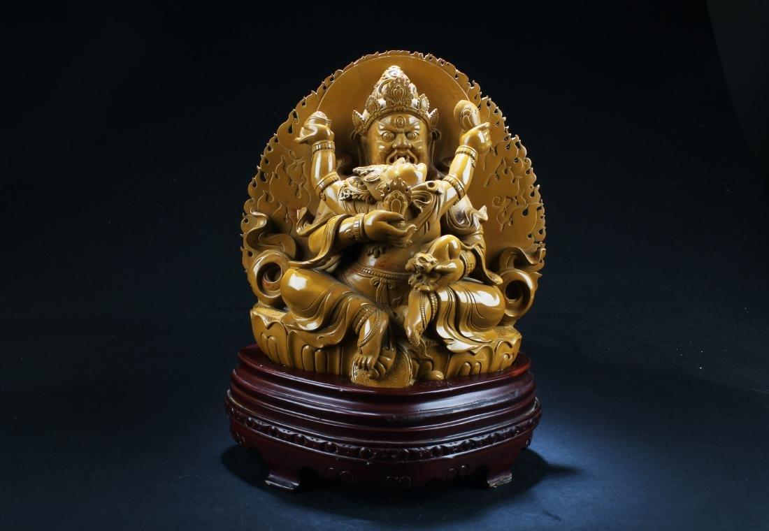 A Chinese Tibetan Jade Bodhisattva Statue