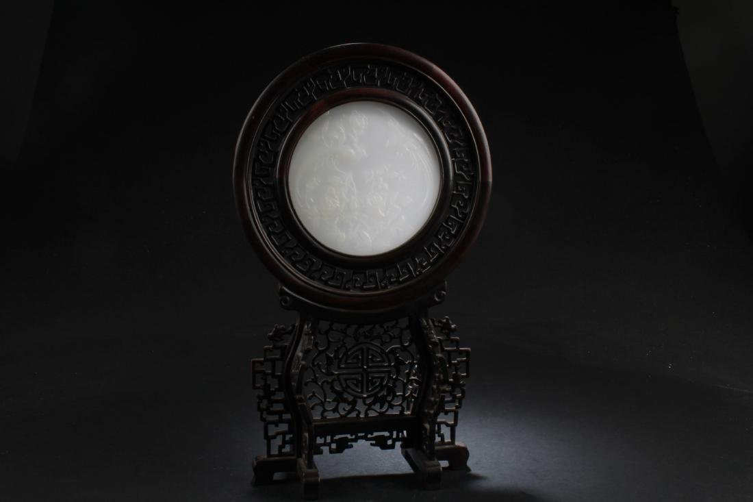 Chinese Hardwood Round Table Screen with White