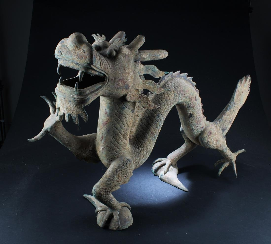 A Chinese Bronze Dragon Statue