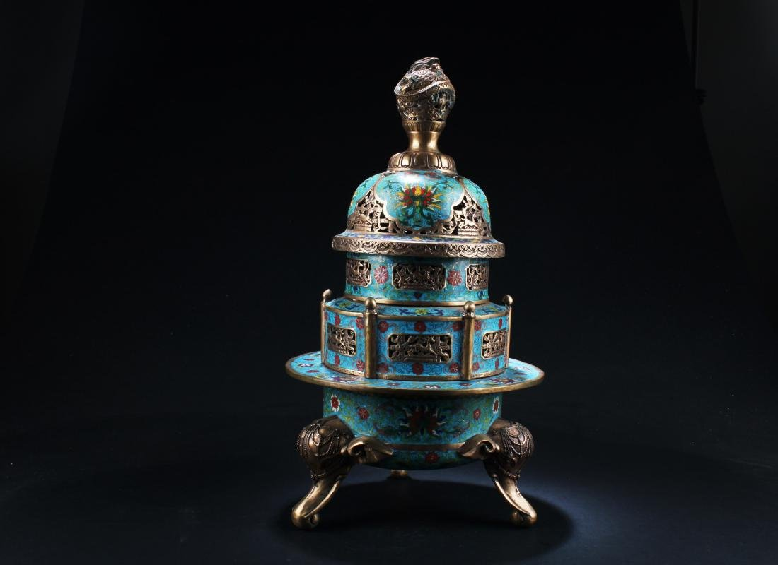 A Chinese Cloisonne Tripod Incense Burner