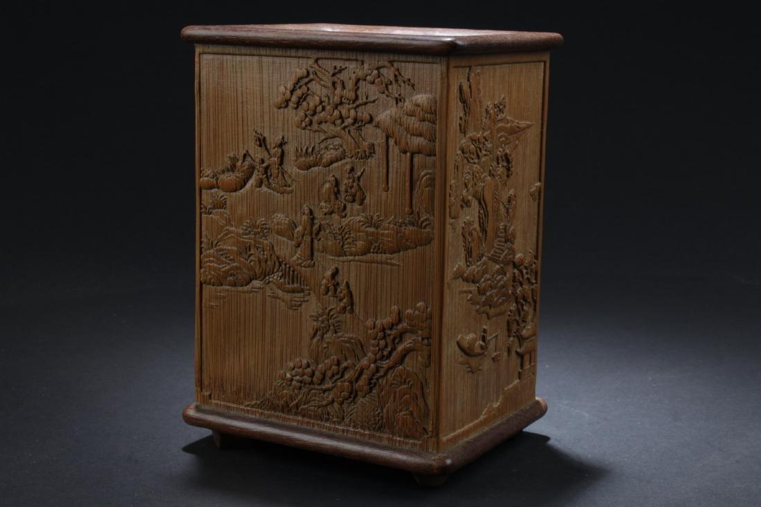 Chinese Rectangular-Shaped Bamboo Brushpot