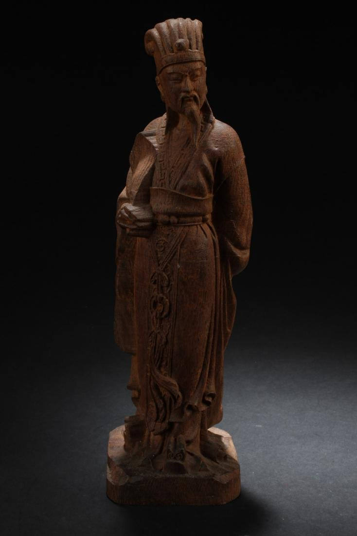 Chinese Wooden Carved Deity Statue