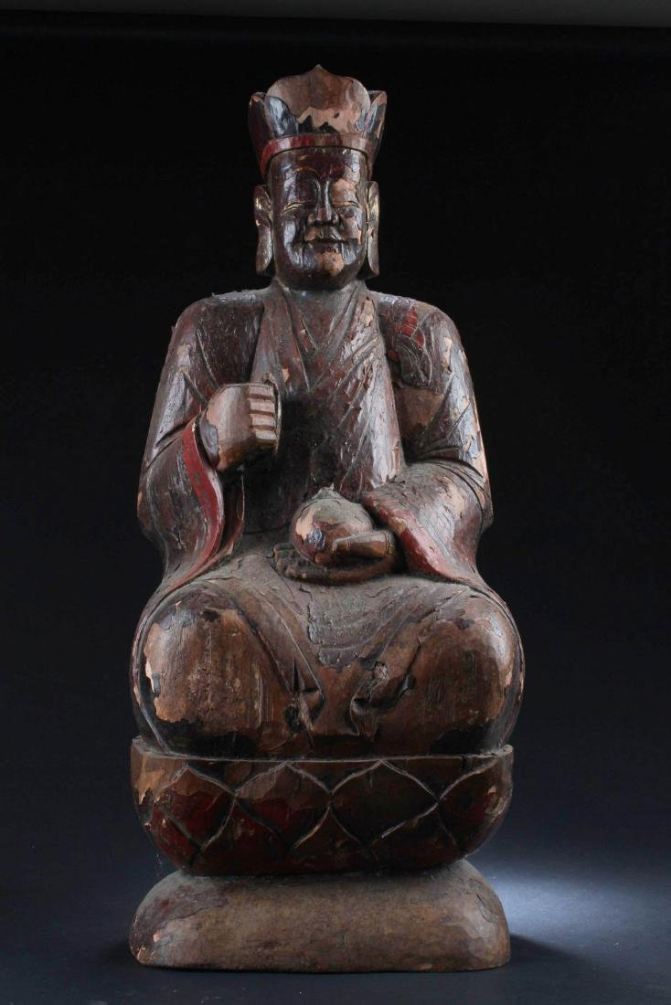 Chinese Wood Carved Deity Statue