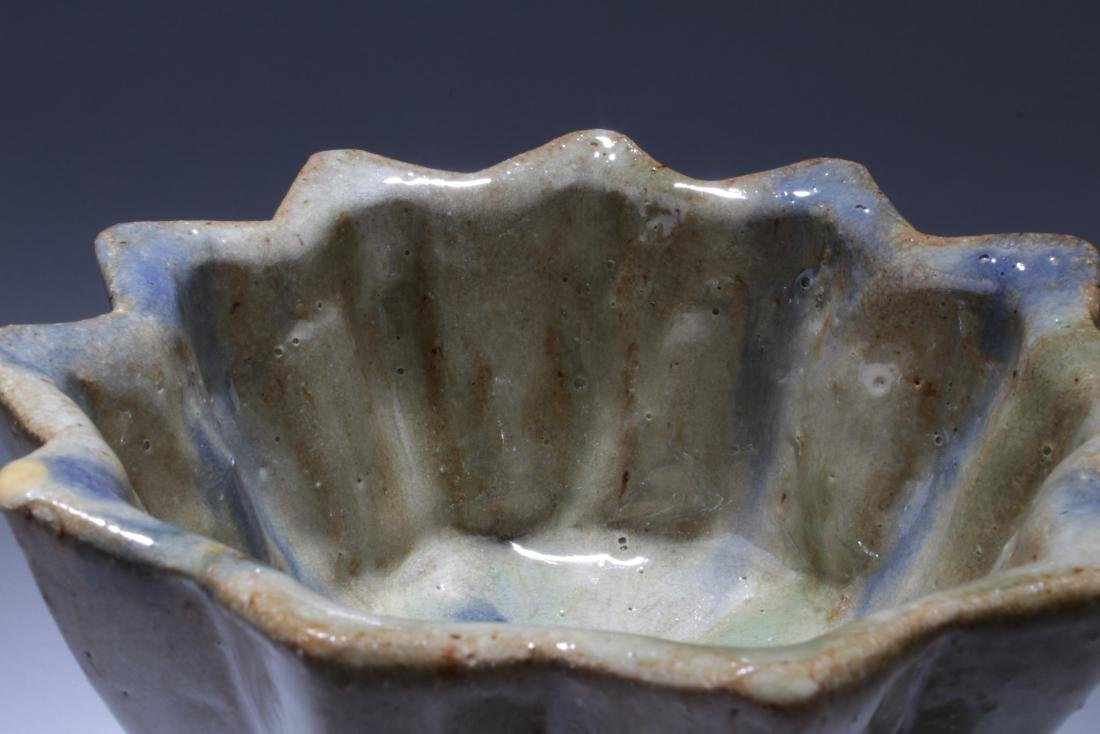Antique Chinese Pottery Glazed Tripod Cup - 2