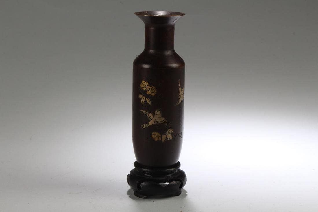 Chinese Bronze Vase with Stand