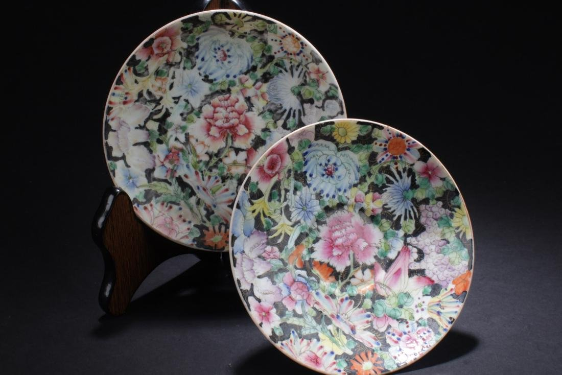 A Pair of Antique chinese Famille Enamel plates