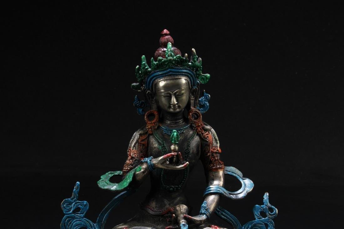 Chinese Bronze Bodhisattva Statue - 2