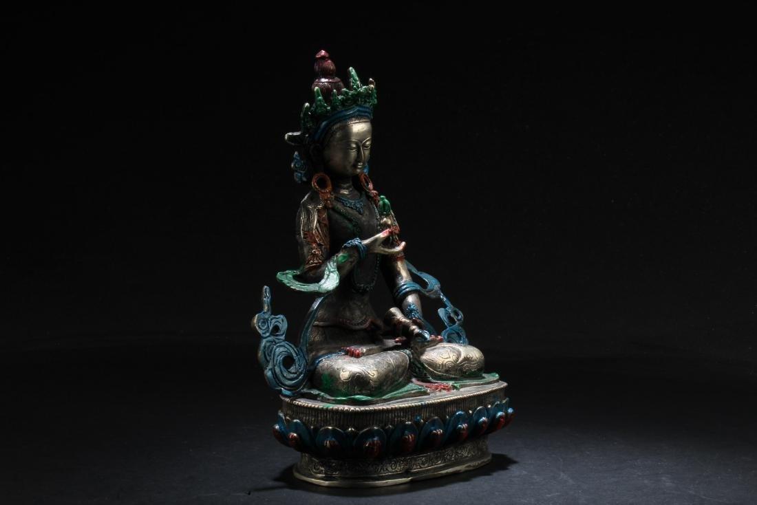 Chinese Bronze Bodhisattva Statue - 4