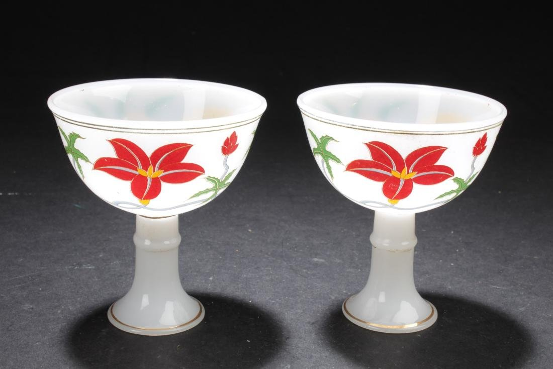 Two Chinese Porcelain Stem Cups