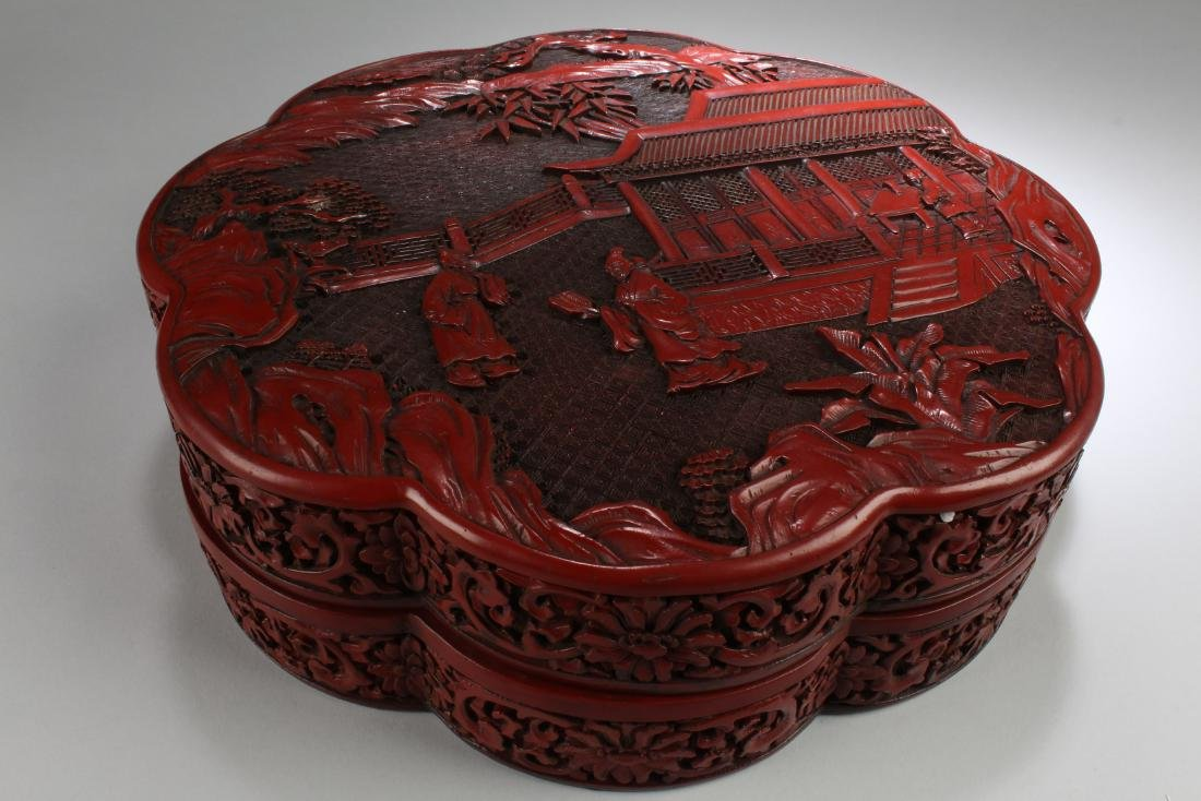 Chinese Cinnabar Lacquered Round Container