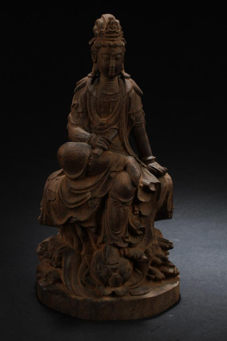 A Chinese Wooden Carved Bodhisattva Statue