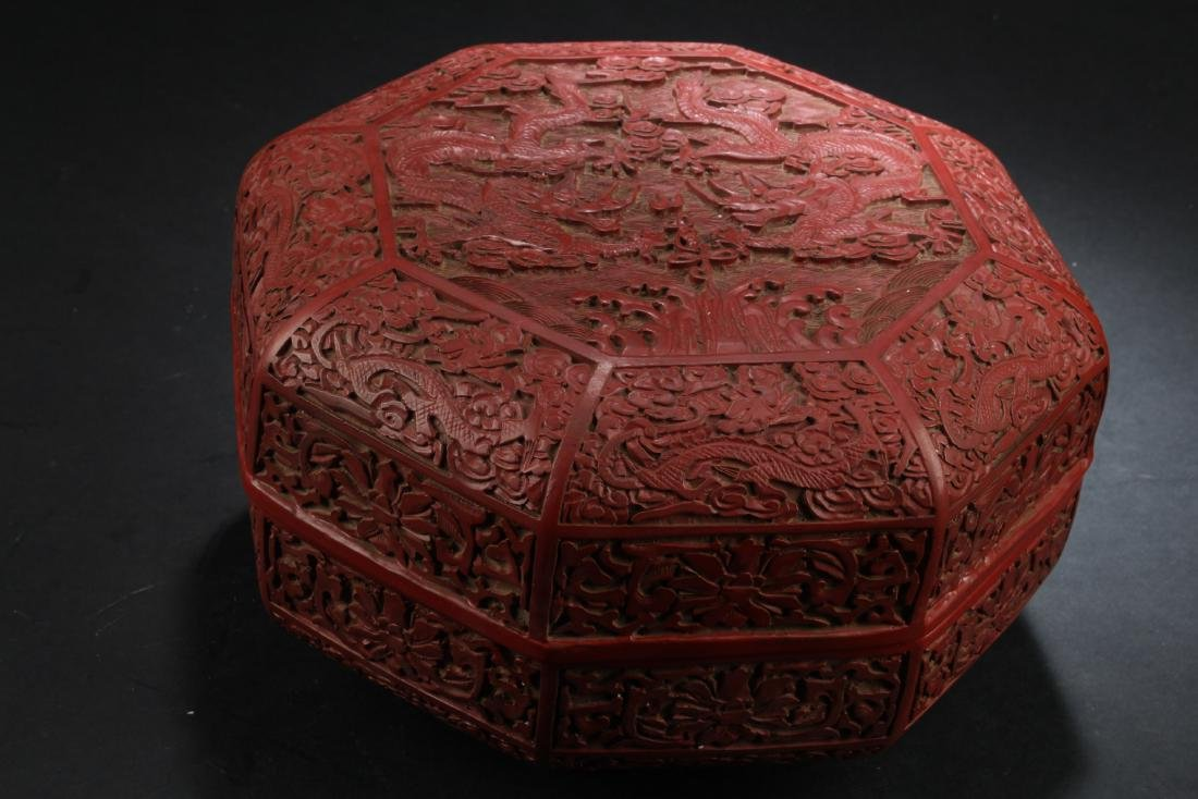 Chinese Cinnabar Lacquered Octagon-shaped Container