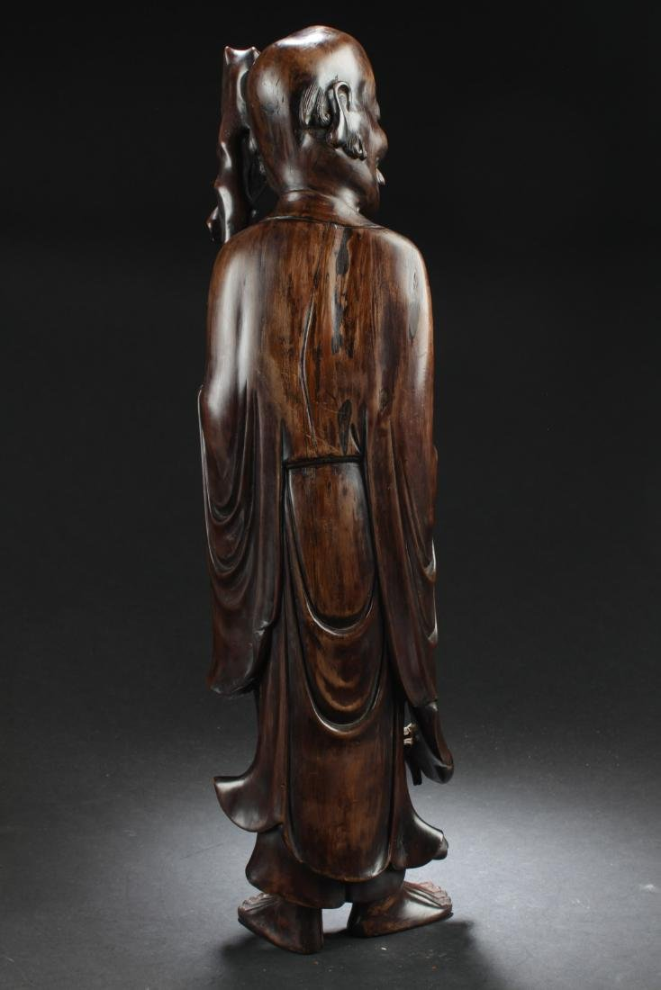 Antique Chinese Bowood Carved Statue - 3