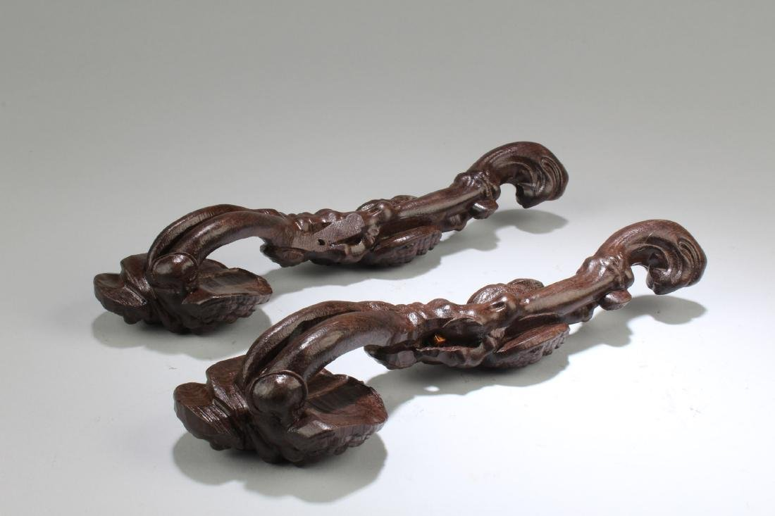 A Pair of Chinese Hardwood Carved Ruyi - 3
