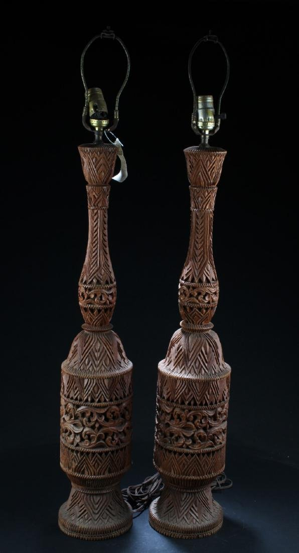 A Pair of Chinese Wooden Carved Lamp Holders