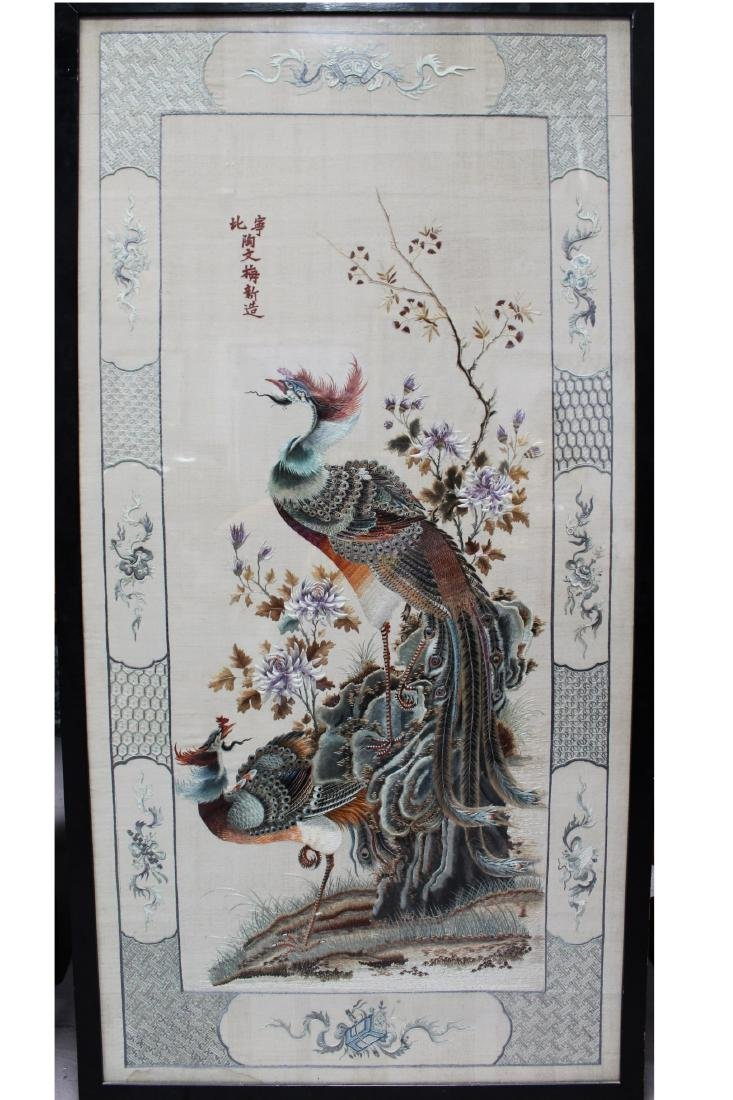 Framed Chinese Silk Embroidery 'Phoenix'