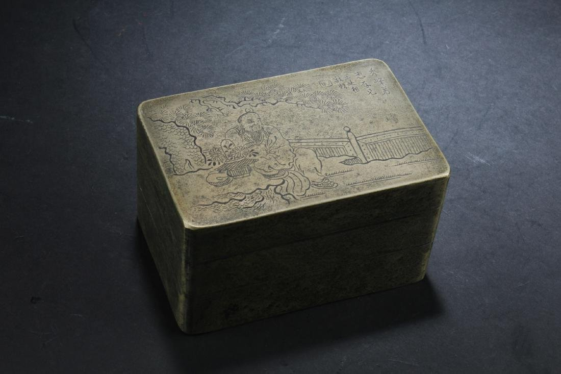 Chinese Bronze Double Tier Ink Box